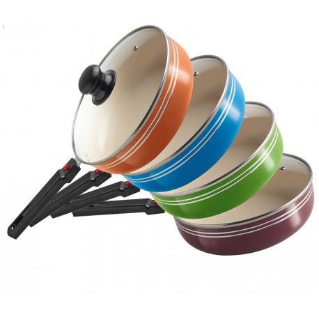 сковорода глубокая.22см*6,5см,съемная ручка.керамическое покрытие.салатовый