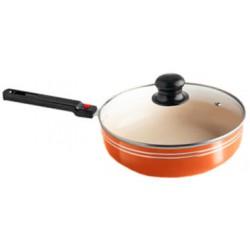 сковорода глубокая 28см*6,5см съемные ручки.керамическое покрытие,оранжевый
